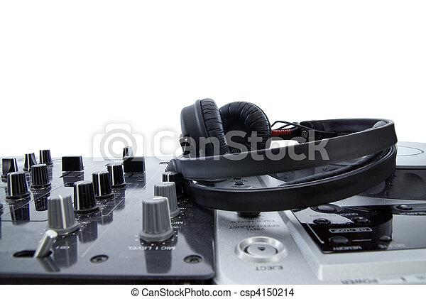 dj mixer with headphones isolated on white - csp4150214