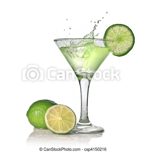 Green alcohol cocktail with splash and green lime isolated on white - csp4150216