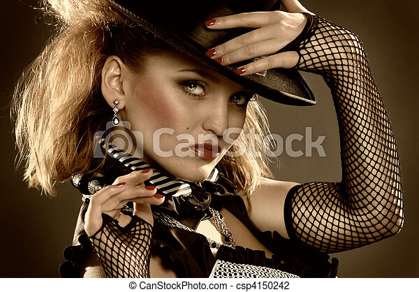 elegance woman with hat - csp4150242