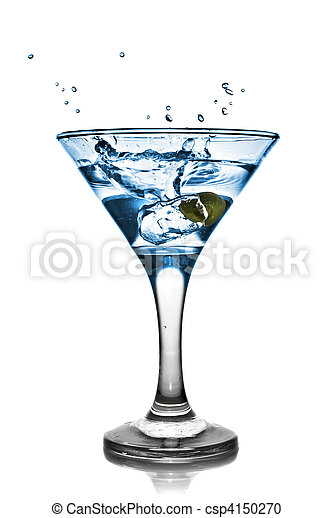 Blue alcohol cocktail with splash isolated on white - csp4150270