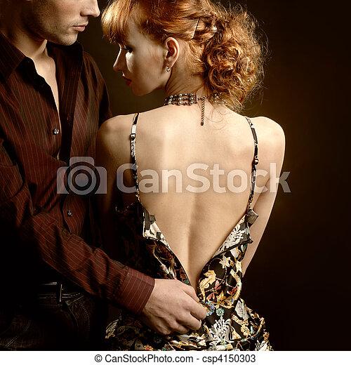 Man undress woman - csp4150303