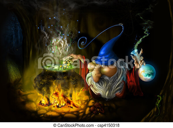 drawing fairy sly wizard in cave - csp4150318