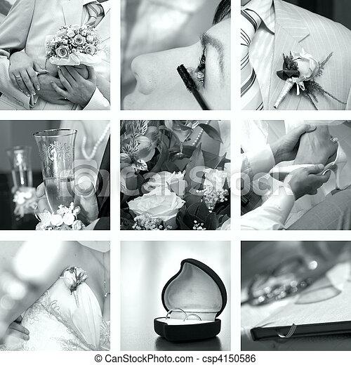 foto, vit, sätta, svart, bröllop - csp4150586