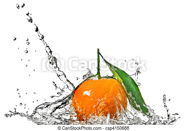 Tangerine with green leaves and water splash isolated on white - csp4150688