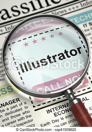 Illustrator. Newspaper with the Searching Job. Column in the Newspaper with the Jobs of Illustrator. Concept of Recruitment. Blurred Image. 3D Render.