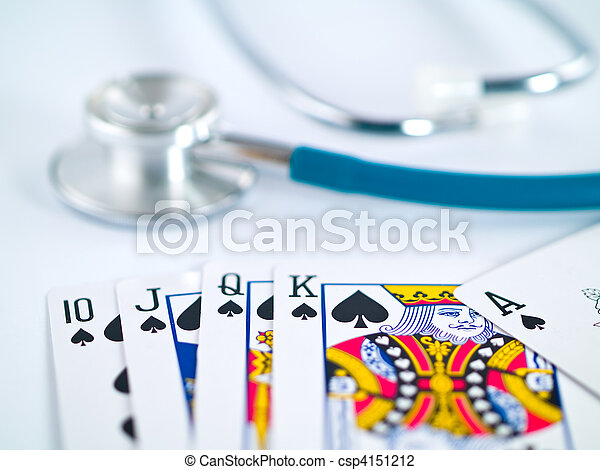 Stethoscope and Playing Cards as a Gambling with your Health Concept - csp4151212