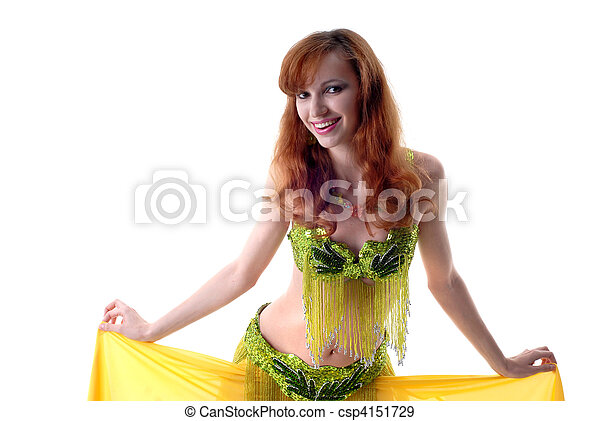 beautiful girl dances east dance isolated on white - csp4151729