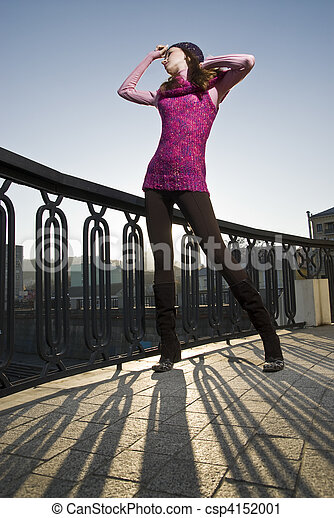 fashion photo of girl on the street - csp4152001
