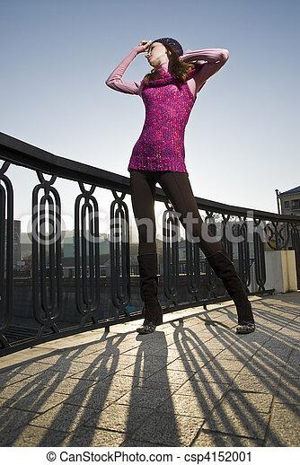 fashion photo of girl on the street - csp4152001