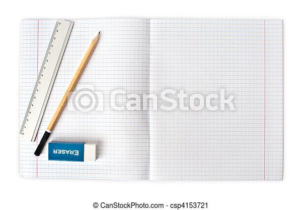 lápiz, cuaderno, abierto, borrador, blanco - csp4153721