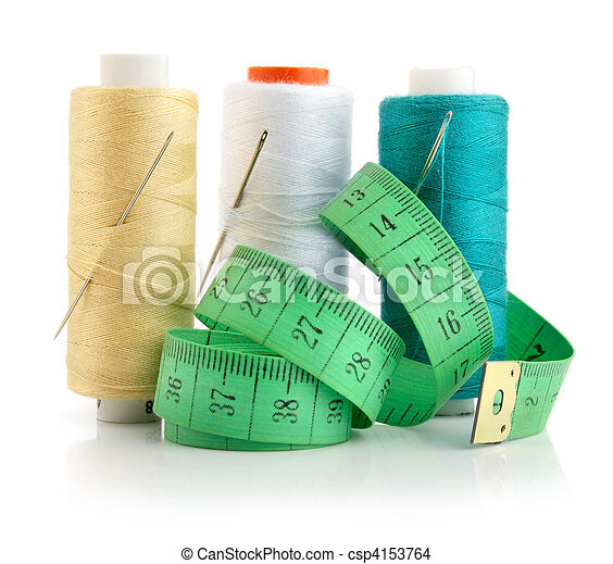 color threads with needles and green measuring line - csp4153764