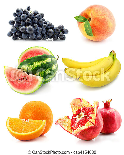 collection of fruit isolated on white - csp4154032