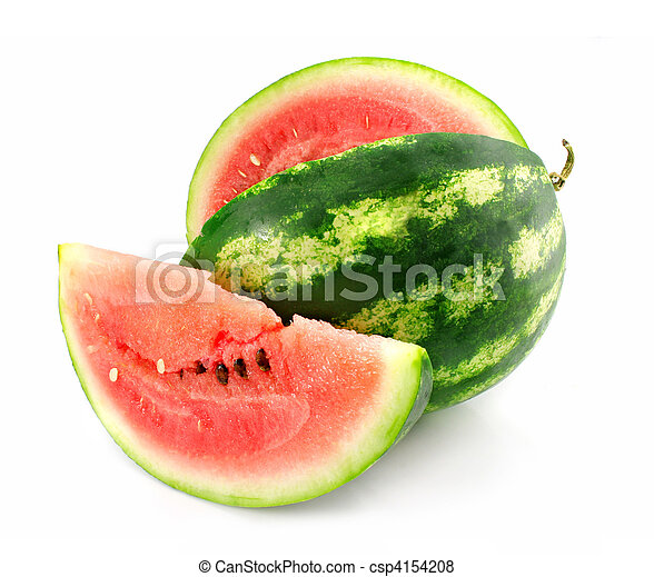 ripe fruit of water-melon with lobule is isolated - csp4154208