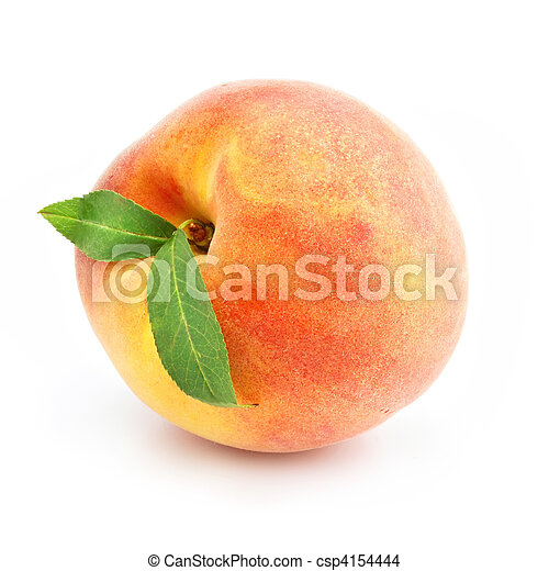 ripe peach fruit with green leafs isolated - csp4154444