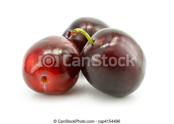 three plum fruit isolated on white - csp4154496
