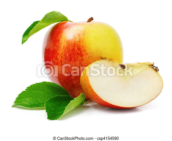 red apple fruits with cut and green leaves - csp4154590