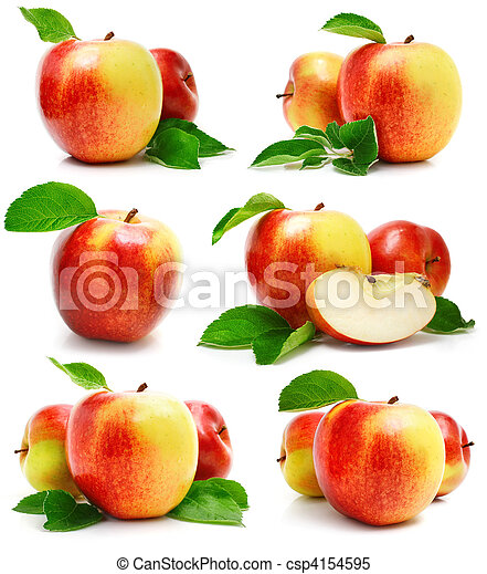 set red apple fruits with cut and green leaves - csp4154595