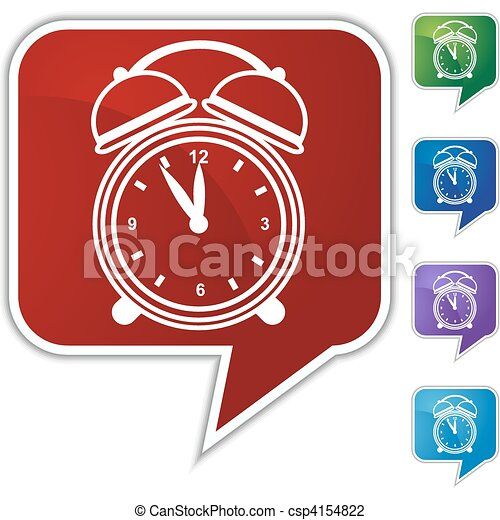 Alarm clock Speech Balloon Icon Set - csp4154822