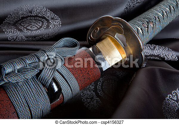 Japanese sword on silk - csp4156327