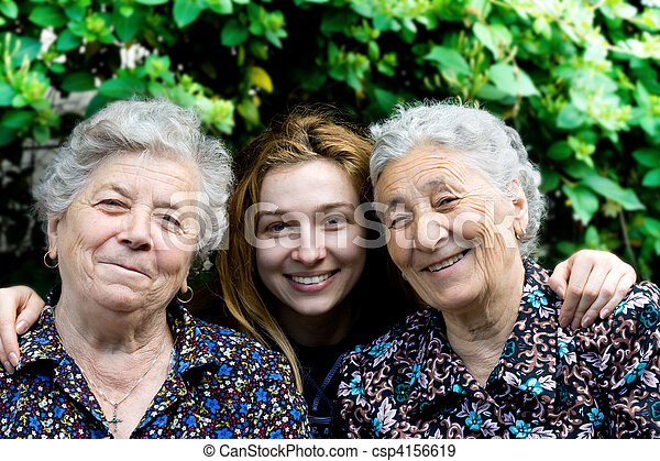 Young woman with two senior ladies - csp4156619