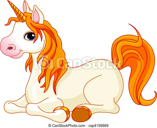 Beautiful unicorn with red mane an - csp4156669