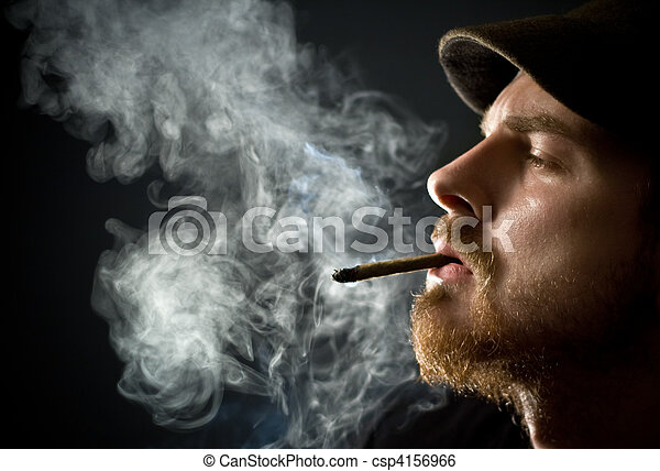 Bearded man smoking - csp4156966