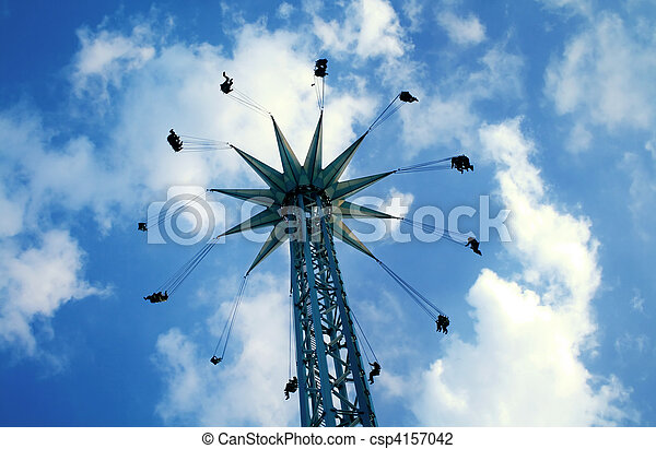 Swinging carousel at Prater park, Vienna - csp4157042