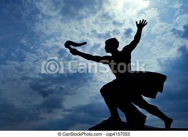 Statue of torch-bearer on Gellert Hill, Budapest - csp4157053