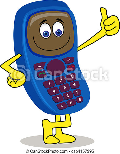 handphone cartoon character - csp4157395