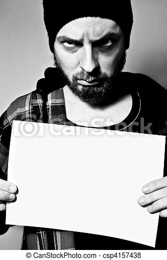 Arrested man holding a blank sheet - csp4157438