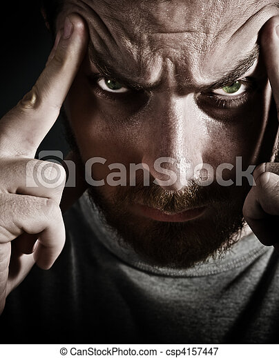 Close-up portrait of scary stressed man - csp4157447