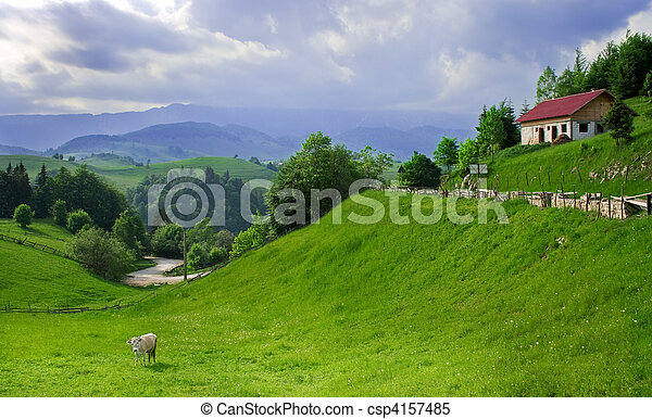 Amazing view in a romanian village - csp4157485