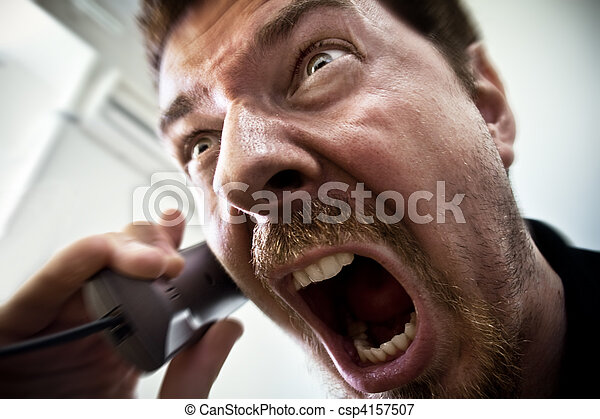 Man shouting at telephone - csp4157507