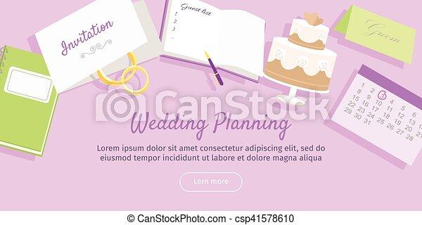 Wedding Planning Web Banner. Preparations. Vector - csp41578610