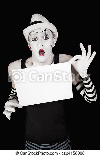 mime in striped gloves and hat, holding a white blank - csp4158008