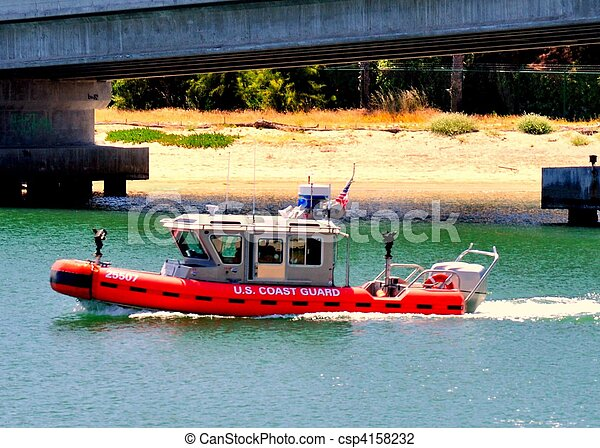 A U.S. Coast Guard RHIB - csp4158232