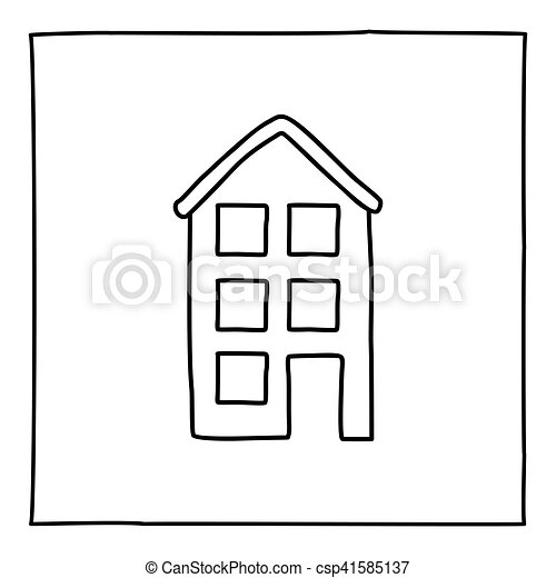 Apartment Building Graphic vectors of doodle apartment building icon. black and white symbol