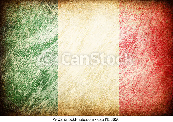 Grunge rubbed flag series of backgrounds. Italy. - csp4158650