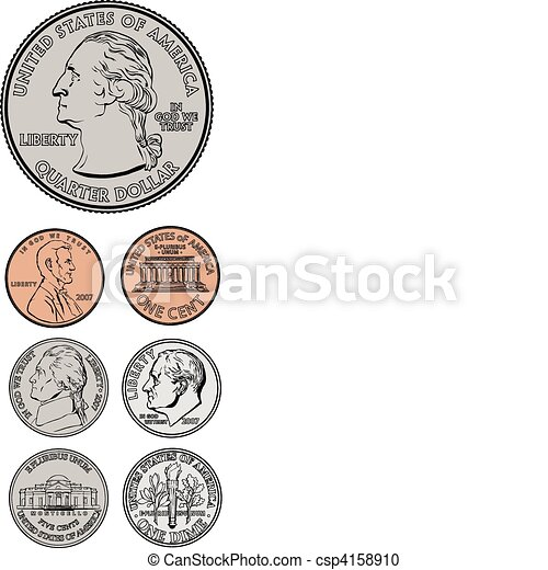 Vector Quarter Dime Nickel and Penny - csp4158910