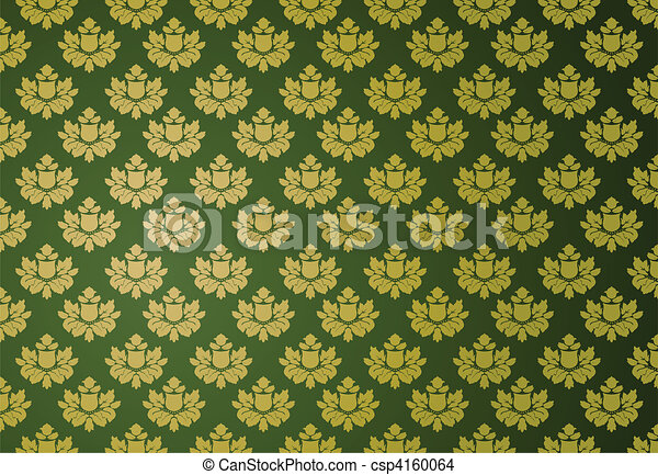 Gold and green glamour pattern - csp4160064