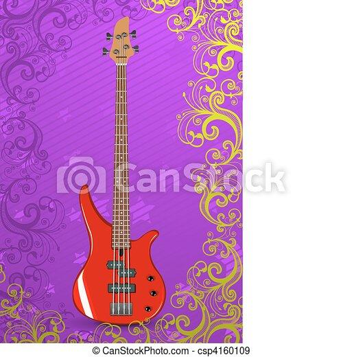 Vector illustration of bass guitar - csp4160109