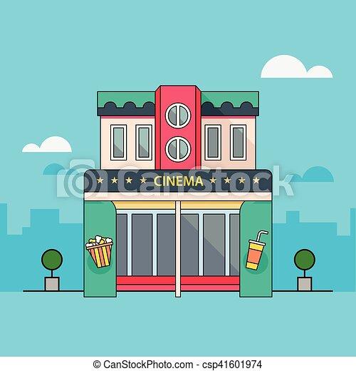 Ilustraciones vectoriales de edificio, detallado, teatro ...  Cinema Building Cartoon