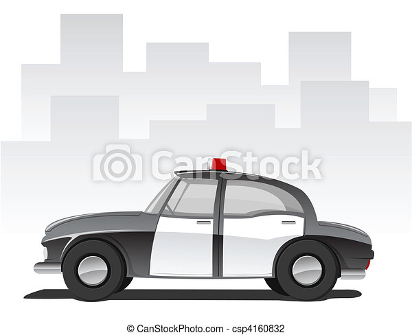 Vector cartoon police car  - csp4160832