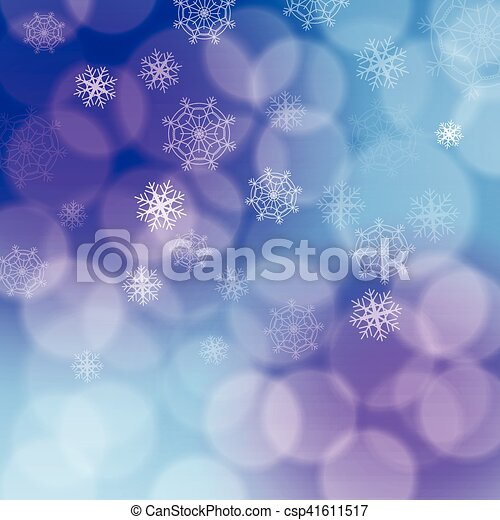 Modern christmas backdrop with various white transparent snowflakes on purple, pink and blue background bokeh effect. Soft and blurred circles. - csp41611517