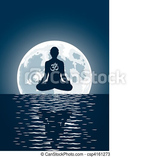 Vector yoga over moon background - csp4161273