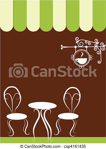 two chairs and table in a coffee shop - csp4161435
