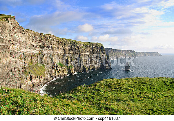 late evening sunset famous irish cliffs of moher - csp4161837