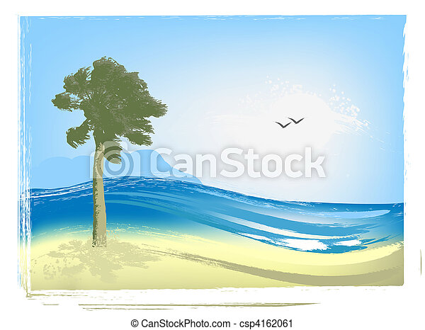Illustrated seascape - csp4162061