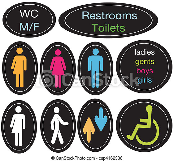 Editable restroom sign set - csp4162336