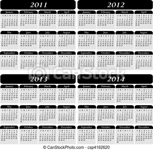 Four Year Calendar in Black - csp4162620
